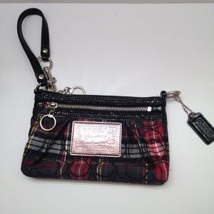 Coach poppy red black plaid tarlatan wristlet bag